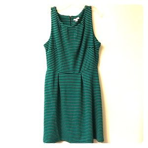 Merona Green And Navy Stripe Fit And Flare Dress L